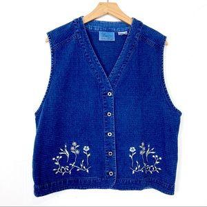 Vintage cottagecore denim vest embroidered blue